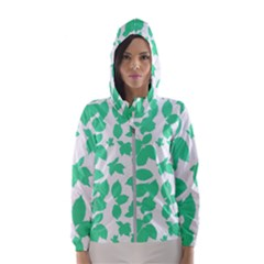 Botanical Motif Print Pattern Women s Hooded Windbreaker