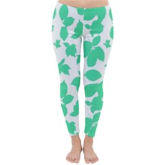 Botanical Motif Print Pattern Classic Winter Leggings