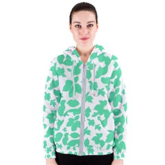 Botanical Motif Print Pattern Women s Zipper Hoodie