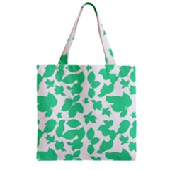 Botanical Motif Print Pattern Zipper Grocery Tote Bag