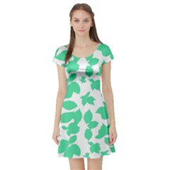 Botanical Motif Print Pattern Short Sleeve Skater Dress