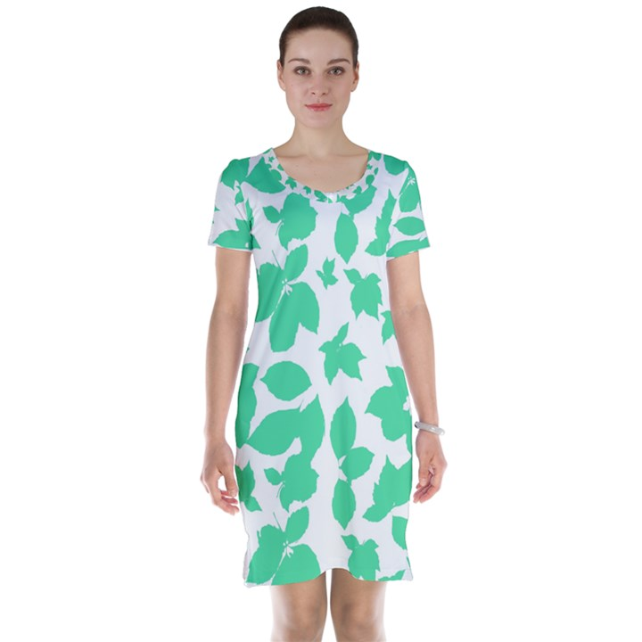 Botanical Motif Print Pattern Short Sleeve Nightdress