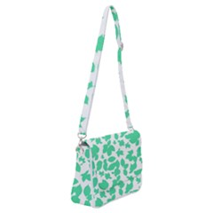 Botanical Motif Print Pattern Shoulder Bag with Back Zipper