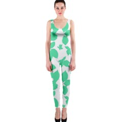 Botanical Motif Print Pattern One Piece Catsuit