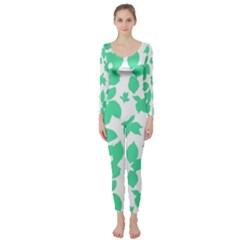 Botanical Motif Print Pattern Long Sleeve Catsuit