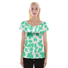 Botanical Motif Print Pattern Cap Sleeve Top