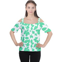Botanical Motif Print Pattern Cutout Shoulder Tee