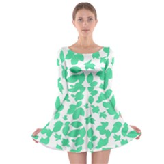Botanical Motif Print Pattern Long Sleeve Skater Dress