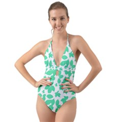 Botanical Motif Print Pattern Halter Cut-Out One Piece Swimsuit