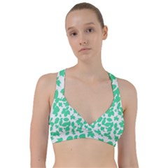 Botanical Motif Print Pattern Sweetheart Sports Bra