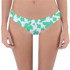 Botanical Motif Print Pattern Reversible Hipster Bikini Bottoms