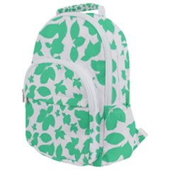 Botanical Motif Print Pattern Rounded Multi Pocket Backpack
