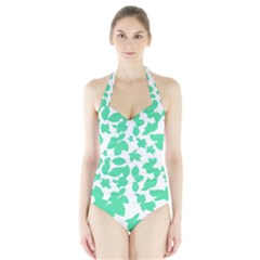 Botanical Motif Print Pattern Halter Swimsuit