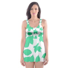 Botanical Motif Print Pattern Skater Dress Swimsuit