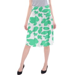 Botanical Motif Print Pattern Midi Beach Skirt