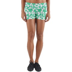 Botanical Motif Print Pattern Yoga Shorts