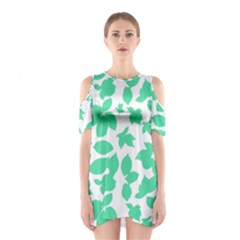 Botanical Motif Print Pattern Shoulder Cutout One Piece Dress