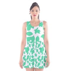 Botanical Motif Print Pattern Scoop Neck Skater Dress