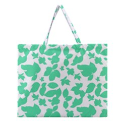 Botanical Motif Print Pattern Zipper Large Tote Bag