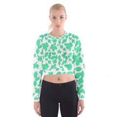 Botanical Motif Print Pattern Cropped Sweatshirt