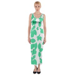 Botanical Motif Print Pattern Fitted Maxi Dress