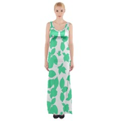 Botanical Motif Print Pattern Maxi Thigh Split Dress