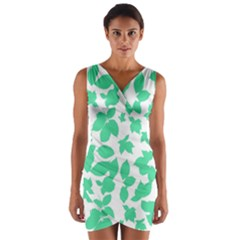 Botanical Motif Print Pattern Wrap Front Bodycon Dress