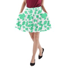 Botanical Motif Print Pattern A-Line Pocket Skirt