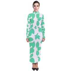 Botanical Motif Print Pattern Turtleneck Maxi Dress