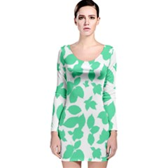 Botanical Motif Print Pattern Long Sleeve Velvet Bodycon Dress