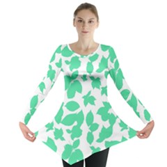 Botanical Motif Print Pattern Long Sleeve Tunic