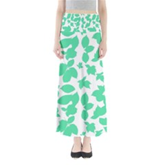 Botanical Motif Print Pattern Full Length Maxi Skirt