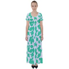 Botanical Motif Print Pattern High Waist Short Sleeve Maxi Dress