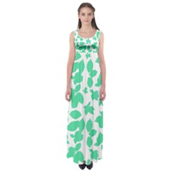 Botanical Motif Print Pattern Empire Waist Maxi Dress
