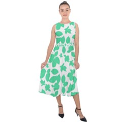 Botanical Motif Print Pattern Midi Tie-Back Chiffon Dress
