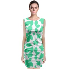Botanical Motif Print Pattern Classic Sleeveless Midi Dress