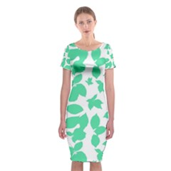 Botanical Motif Print Pattern Classic Short Sleeve Midi Dress