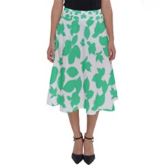 Botanical Motif Print Pattern Perfect Length Midi Skirt