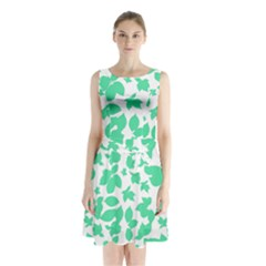 Botanical Motif Print Pattern Sleeveless Waist Tie Chiffon Dress