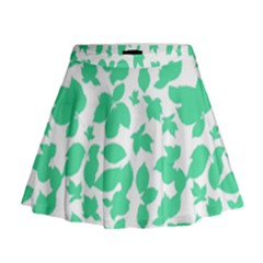 Botanical Motif Print Pattern Mini Flare Skirt
