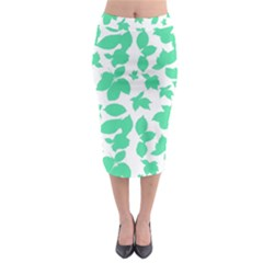 Botanical Motif Print Pattern Midi Pencil Skirt