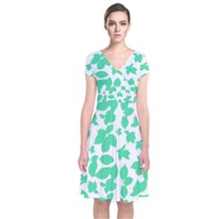 Botanical Motif Print Pattern Short Sleeve Front Wrap Dress