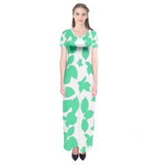 Botanical Motif Print Pattern Short Sleeve Maxi Dress
