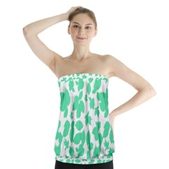 Botanical Motif Print Pattern Strapless Top