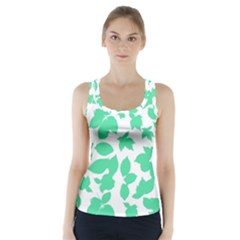 Botanical Motif Print Pattern Racer Back Sports Top