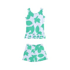 Botanical Motif Print Pattern Kids  Boyleg Swimsuit