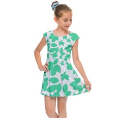 Botanical Motif Print Pattern Kids  Cap Sleeve Dress