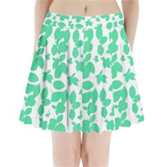 Botanical Motif Print Pattern Pleated Mini Skirt