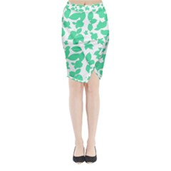 Botanical Motif Print Pattern Midi Wrap Pencil Skirt