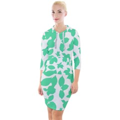 Botanical Motif Print Pattern Quarter Sleeve Hood Bodycon Dress